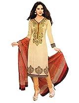 Salwar Studio Fawn & Beige Cotton Dress Material with Dupatta ShreeGanesh-337