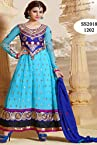 Sky Designer Embroidered Long Anarkali Suit