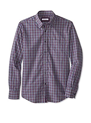 Alex Cannon Men's Long Sleeve Hidden Button Down Heather Check (Purple)