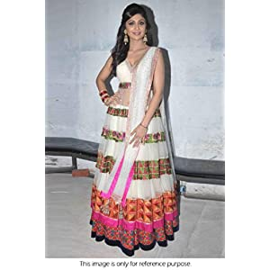 Bollywood Replica Shilpa Shetty Silk and Net Suit In White Colour
