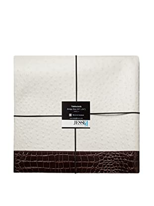 JESSEd home The Never Done Before Exotic Skin Tablecloth (White Ostrich/Chocolate Croc)