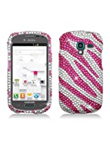 Aimo SAMT599PCLDI686 Dazzling Diamond Bling Case for Samsung T599 - Retail Packaging - Zebra Hot Pink with White
