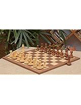Chessbazaar Combo Of Fierce Knight Staunton Chess Pieces & Walnut Maple Board
