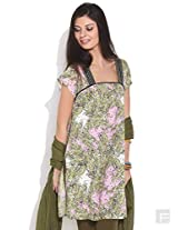 Multi Ethnic Print Cotton Kurta-Pink-Xl