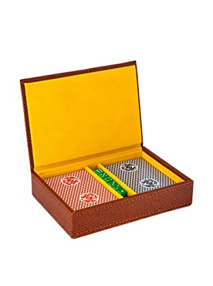 Wilouby Travel Game Set with 2 Decks of Cards & Dice, Brown Lizard