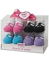 Baby Essentials Girls 4 Pack Sock Set - T-Strap
