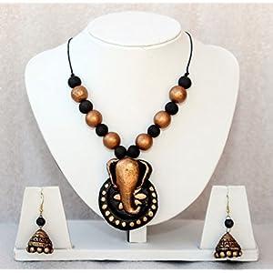 Anikalan Designs Ganesha Pendant Terracotta Necklace Set