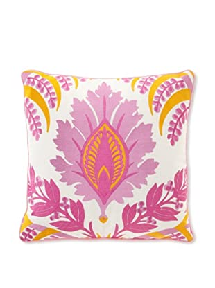 Jennifer Paganelli Pina Linen Embroidery Pillow, 20 by 20-Inch, Pink