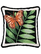 Peking Handicraft 14-Inch by 14-Inch Needle Point Pillow, Butterfly