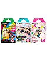Fujifilm Instax Mini Instant Film Rainbow & Staind Glass & Candy Pop Film -10 Sheets X 3 Assort Value Set