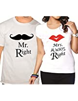 Giftsmate Mr Right and Mrs Always Right Quirky Couple T Shirts - Set of 2.Valentine gifts for boyfriend, gifts for girlfriend, gifts for husband, gifts for wife.