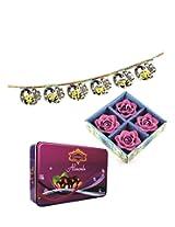 Skylofts 175gms Luscious Chocolate coated Almonds Tin pack with a 4pc diya set & bandanwaar Diwali combo