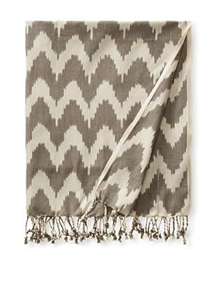 a & R Cashmere Handmade Ikat Throw, Grey