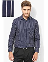 Blue Solid Regular Fit Formal Shirt Peter England