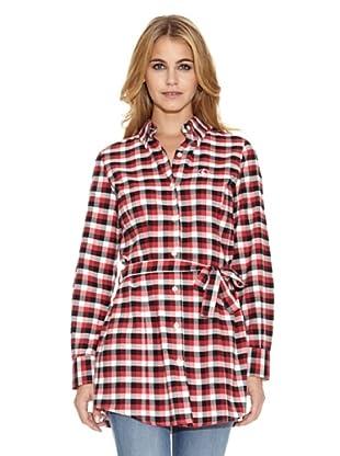 El Ganso Camisa Larga Con Cinturón Vichy (Negro / Rojo / Blanco)
