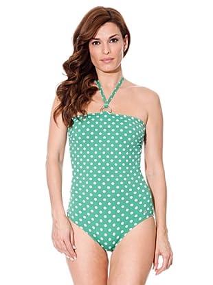 Cortefiel Badeanzug Punkte (Grün)