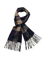 Dahlia Men's 100% Wool Scarf - Plaid - Navy Blue Red