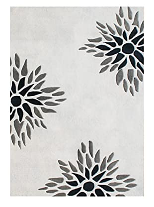 Horizon Beverly Hills Contemporary Floral Rug (Cream/Navy/Grey)