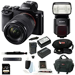Sony ILCE-7K/B ILCE7KB 24.3 MP a7K Interchangeable Lens Camera with 28-70mm Lens + Sony HVLF60M Flash for Alpha Cameras + Sony 64GB SDHC Class 10 UHS-1 R40 Memory Card (SF64UY/TQMN) + 2 Wasabi Power Batteries and Charger + Accessory Kit