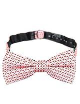 PenSee 100% Silk Mens Pre-tied Bow Tie Geometric Red & Pink Bow Ties