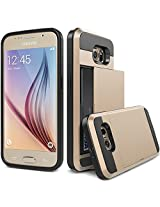 Samsung Galaxy S6 Case, Ziaon Card Slot Drop Protection Heavy Duty Wallet Case For Samsung Galaxy S6 - Gold