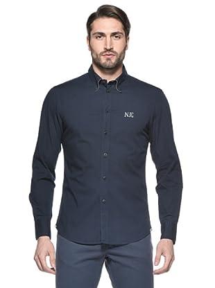 Nautica Camisa Solid Manga Larga (Azul Marino)