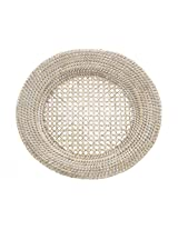 KOUBOO Round Rattan Charger Plate, White Wash