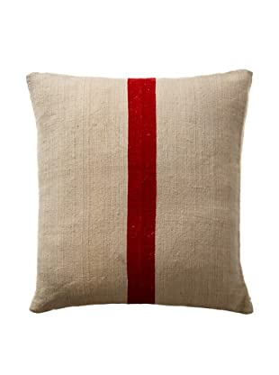 Vintage Hungarian Seed Bag Fabric Pillow, French Red