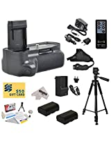 Opteka (8471B001AA) BG-E14 BGE14 Replacement Vertical Battery Grip for the Canon EOS 70D DSLR Digital Camera Includes 2 Extended Life Canon LP-E6 LPE6 Replacement Battery Packs (2600mAh Each 5200mAh in Total) + 1 hour AC/DC Rapid Battery Charger + Wireless Shutter Release Remote Control + Leather Stabilizing Hand Grip Strap + 60 Inch Professional Tripod + Deluxe Lens Cleaning Kit + LCD Screen Pote