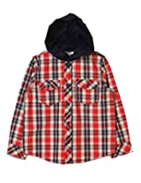 Beebay Boys Y/D Check Shirt with Hood (B0215230920313_Red Check_7Y)