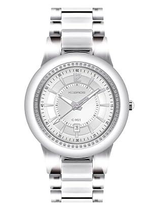 K&BROS 9180-2 / Reloj de Señora  con brazalete metálico blanco