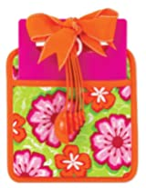 Brownlow Gifts Floral Kitchen Essentials Pot Holder Cutting Board and Measuring Spoons, Pink/Orange/Green