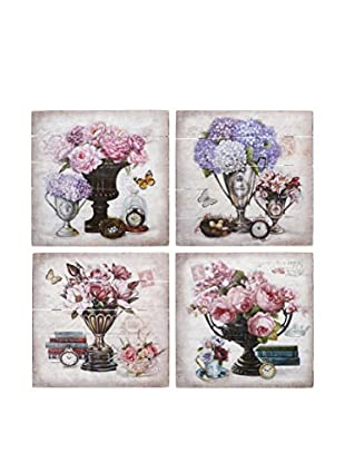 Romantic Style Set Panel Decorativo 4 Uds. Flowers Multicolor