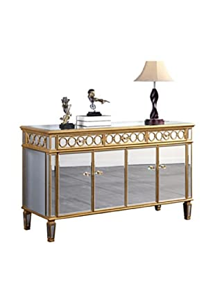 Audrey 4-Door Mirrored Cabinet, Gold Leaf
