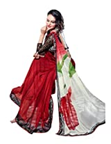 Red & White Color Chiffon Saree with Border and Blouse 6212
