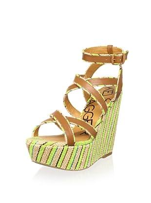 Kelsi Dagger Women's Paxton Wedge Sandal (Cognac/Neon Green)