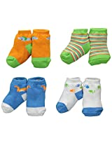 BON BEBE Baby-Boys Newborn 4 Pair Socks Dinosaur Gift Set, Multi, New Born