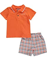 Calvin Klein Baby-Boys Infant Polo with Plaid Shorts, Orange Assorted, 12 Months