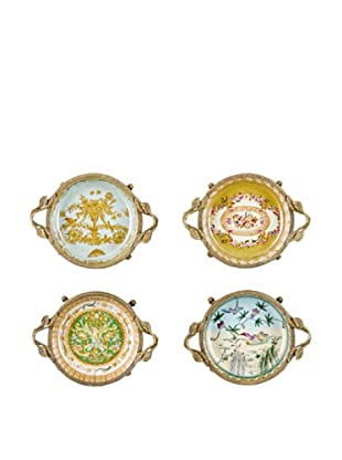Oriental Danny Set of 4 Bronze Porcelain Dishes
