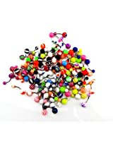 Crazy Piercing Wholesale Lot Of 100pcs Belly Navel Button Rings Bar Barbells Ball Acrylic Steel