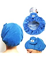 "10"" Terrycloth Shower Cap Blue Bear Head Style Hat Bath Hair Waterproof Spa New"