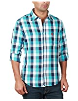 REIGN OF FASHION Men's Casual Shirt (500031, White Aqua Blue Checks, 3X-Large)