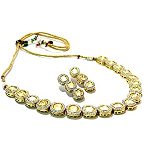 Daamak Jewellery Kundan With Cz Necklace -Yellow
