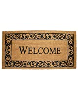 J & M Home Fashions Wrought Iron Welcome Vinyl Back Coco Doormat, 21-Inch by 41-Inch