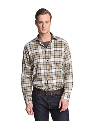 Façonnable Tailored Denim Men's Plaid Flannel Shirt (Beige)