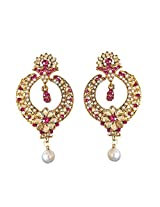 Trendy Pink & White Coloured Stone, Shell Pearl & Gold Plated Chand Bali Earrings