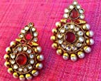 Earrings - Rani pink polki flower with coloured stone pearl Indian bollywood ethnic earring c26r