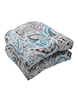 Pillow Perfect Indoor/Outdoor Paisley Wicker Seat Cushion, Tidepool, Set of 2