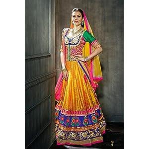 Bhagalpuri Silk Lehenga Choli In Orange and Green Colour 1007