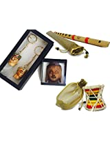 Set of 4 The Ethereal Artisan's Collection, Hand Made Miniature Dumroo, Hand Made Professional Bansuri Indian Bamboo Transverse Flute, Wooden Painted Buddha Fridge Magnet, Traditional Rajasthani Couple Key Chain